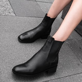 Arden Furtado fashion women's shoes in winter 2019 slip-on women's boots short boots concise mature black leather round toe