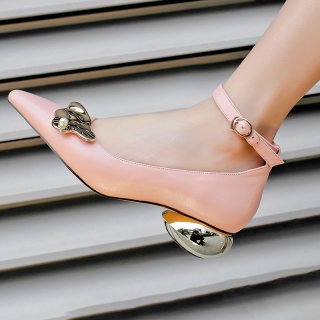 Arden Furtado summer 2019 fashion trend women's shoes buckle pumps strange style heels metal concise decoration office lady