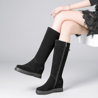 Arden Furtado fashion women's shoes in winter 2019 round toe increase knee high boots zipper pure color elegant ladies boots