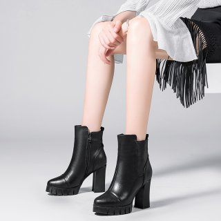 Arden Furtado fashion women's shoes winter 2019 round toe chunky heels short boots zipper pure color concise mature waterproof