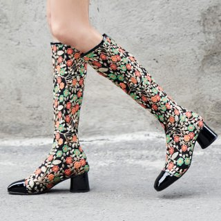 Arden Furtado fashion women's shoes winter 2019 round toe chunky heels flower zipper knee high boots small size 33 big size 42
