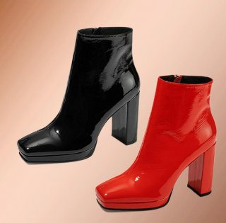 2019 spring autumn chunky heels platform red genuine leather ankle boots women's shoes zipper fashion shoes