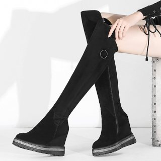 Arden Furtado fashion women's shoes in winter 2019 round toe increase over the knee high boots zipper elegant pure color