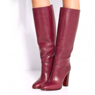 Arden Furtado fashion women's shoes pointed toe chunky heels zipper knee high boots mature burgundy leather