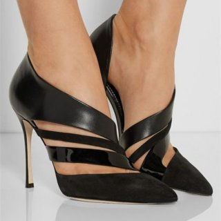 black suede sexy high heels ladies pointed toe hollow ot women's sandals fashion pointed toe big size pumps