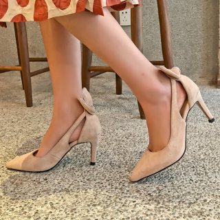 Arden Furtado summer 2019 fashion trend women's shoes pointed toe spersonality tilettos heels sweet ladylike temperament slip-on bowknot butterfly knot pumps party shoes