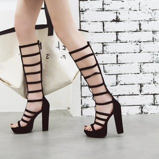 Arden Furtado summer 2019 fashion trend women's shoes chunky heels narrow band zipper classics sandals small size 33 big size 43 mature waterproof gladiator elegant