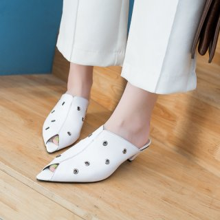 Arden Furtado summer 2019 fashion trend women's shoes online celebrity joker small size 31  big size 44 slippers mules leather party shoes