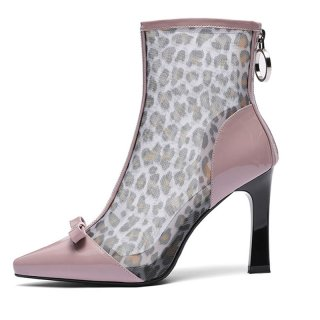 Arden Furtado spring and autumn 2019 fashion women's shoes pointed toe stilettos heels zipper sweet short boots leopard print
