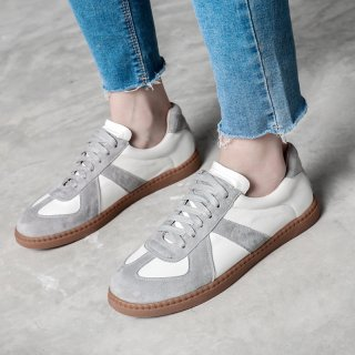 Arden Furtado spring and autumn 2019 fashion women's shoes  gray online celebrity cross lacing flat gym shoes leather concise