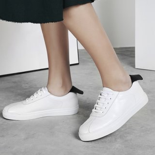 Arden Furtado spring and autumn 2019 fashion women's shoes joker online celebrity cross lacing flat gym shoes leather concise