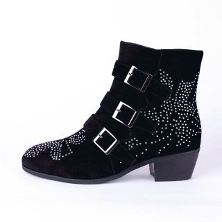 Arden Furtado women's shoes winter 2019 pointed toe zipper stilettos heels buckle short boots size 33 43 crystal rhinestone