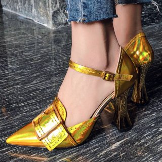 Arden Furtado summer 2019 fashion trend women's shoes pointed toe buckle concise pumps gold party shoes size can be customized