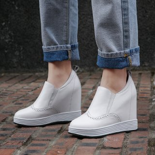 Arden Furtado spring and autumn 2019 fashion women's shoes increase slip-on round toe casual shoes leisure leather classics