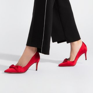 Arden Furtado 2019 fashion women's shoes pointed toe stilettos heels pumps party shoes slip-on butterfly knot red satin shoes