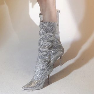 Arden Furtado spring and autumn 2019 fashion women's shoes pointed toe silver crystal rhinestone while the boots stilettos heels women's boots