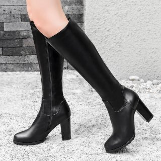 Arden Furtado fashion women's shoes in winter 2019 round toe chunky heels zipper knee high boots leather office lady classics