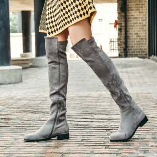 Arden Furtado fashion women's shoes in winter 2019 pointed toe zipper over the knee high boots gray pure color concise mature