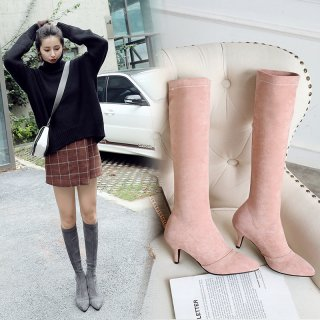 Arden Furtado fashion women's shoes in winter 2019 pointed toe stilettos heels slip-on pink knee high boots concise office lady