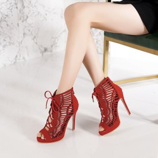 Arden Furtado summer 2019 fashion trend women's shoes pure color peep toe cool boots zipper  small size 28 big size 54 cross lacing stilettos heels