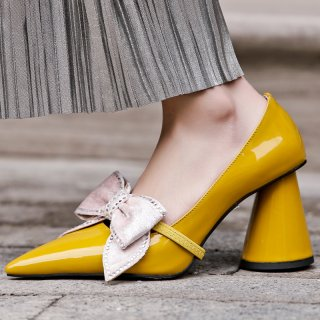 Arden Furtado 2019 fashion women's shoes pointed toe strange shaped heels party shoes  butterfly-knot slip-on elegant pumps