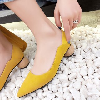 Arden Furtado summer 2019 fashion women's shoes apricot brick red pointed toe mature special-shaped heels pumps pure color