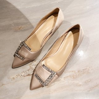 Arden Furtado spring autumn 2019 fashion women's shoes pointed toe stilettos heels concise pumps crystal rhinestone pumps