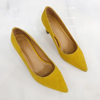 Arden Furtado spring 2019 fashion women's shoes pointed toe office lady strange heels yellow pumps slip-on elegant pumps 42 43