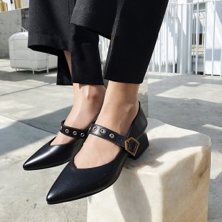 Arden Furtado summer 2019 fashion trend women's shoes pointed toe pumps office lady chunky heels big size 43 pure color buckle