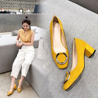 Arden Furtado spring 2019 fashion women's shoes elegant pink yellow pumps chunky heels office lady mary janes shoes big size 43