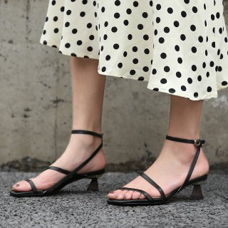 Arden Furtado summer 2019 fashion trend women's shoes special-shaped heels pure color concise classics office lady sandals narrow band