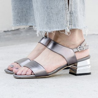 Arden Furtado summer 2019 fashion trend women's shoes special-shaped heels pure color silver concise buckle sandals narrow band