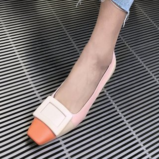 Arden Furtado summer 2019 fashion trend women's shoes chunky heels elegant square head apricot pumps shallow big size 41