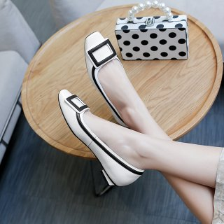 Arden Furtado 2019 spring genuine leather square toes patchwork fashion women's shoes buckle flats small size 31 big size 44