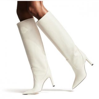 spring autumn high heels stilettos women's shoes white knee high boots ladies sexy booties 45