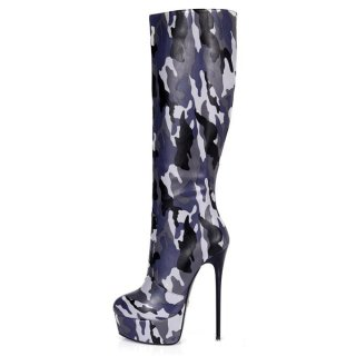 Arden Furtado fashion women's shoes in winter 2019 pointed toe personality stilettos heels zipper camouflage classics pure color big size 45 knee high boots waterproof
