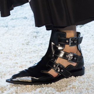 Arden Furtado 2019 summer flat white boots genuine leather buckle strap fashion fretwork matin boots big size 43