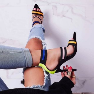 Fashion Stilettos open toe fashion cover heels women's shoes striped sexy party shoes Sandals