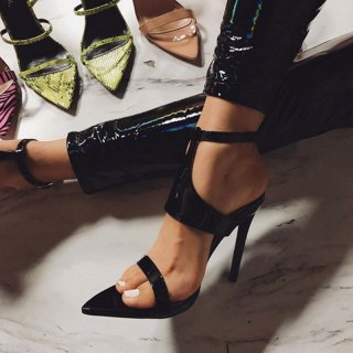 summer 2019 fashion trend women's shoes sexy elegant pure color black party shoes buckle sandals stilettos heels