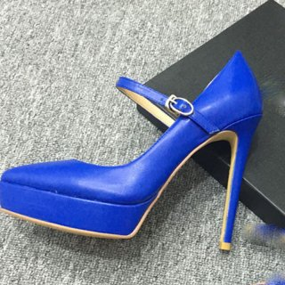summer 2019 fashion trend women's shoes pointed toe stilettos heels buckle office lady blue pumps big size 41