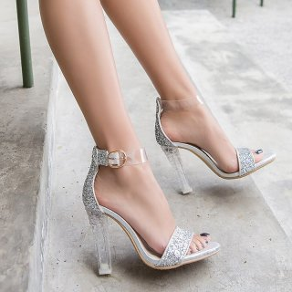 summer chunky heels open toe sequined cloth silver gold bling bling wedding shoes glitter cover heels crystal heels sandals