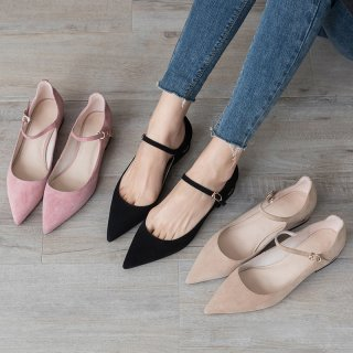 Arden Furtado summer 2019 fashion women's shoes office lady pointed toe new  sexy elegant pure color apricot buckle concise