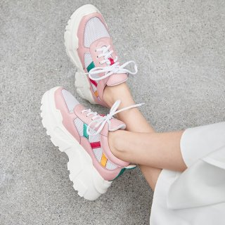 Arden Furtado spring and autumn 2019 fashion women's shoes cross lacing shallow concise sweet pink sneakers  comfortable
