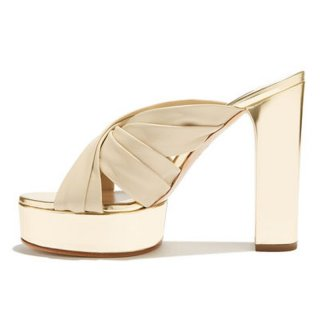 Arden Furtado Summer Concise Fashion Platform slippers Women's Shoes Gold heels Classics Chunky Heels Waterproof