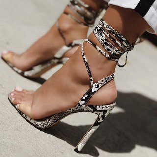 Arden Furtado Summer Fashion Women's Shoes Stilettos Heels Narrow Band Elegant Ankle strap Stilettos serpentine Sandals