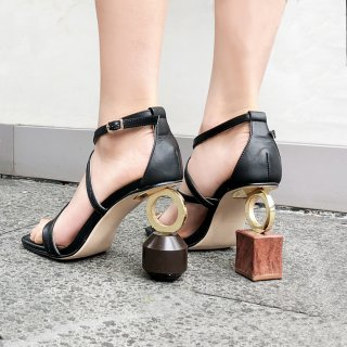 Arden Furtado summer 2019 fashion women's shoes strange fretwork heels buckle strap genuine leather sandals