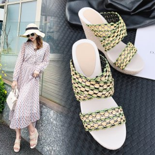 Arden Furtado Summer Fashion Women's Shoes Mature grass green Slippers Classics Sexy Elegant Pure Color Waterproof Narrow Band