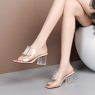 Arden Furtado Summer Fashion Trend Women's Shoes  Chunky Heels Pure Color Slippers Classics Transparent PVC Concise