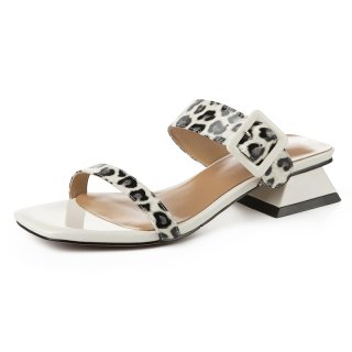 Arden Furtado Summer Fashion Women's Shoes Square Head Sexy Elegant Buckle strap Narrow Band Classics Slippers leopard slides