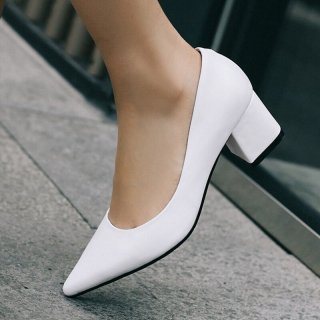 Arden Furtado Summer Fashion Trend Women's Shoes Pointed Toe Chunky Heels Leather Pumps Sexy Elegant Pure Color Party Shoes